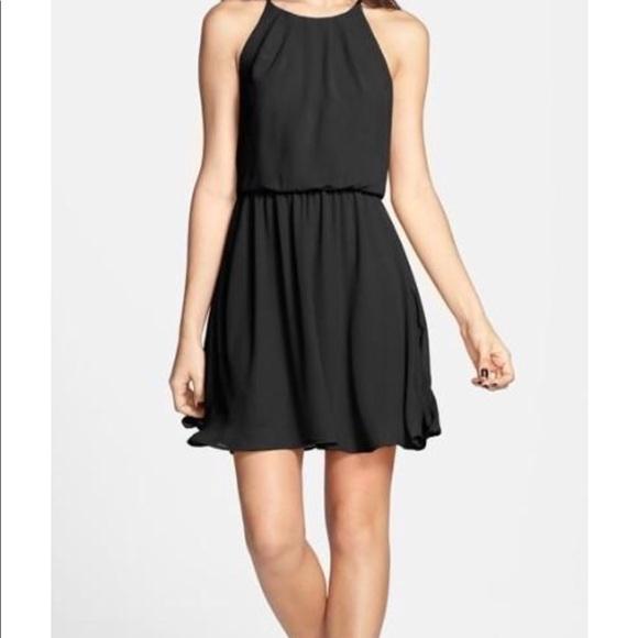 Lush Dresses Nordstrom Black Chiffon Skater Dress Poshmark